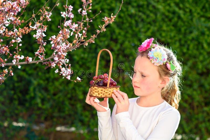 Ni?a linda que presenta con la fruta fresca en el jard?n soleado Ni?a con la cesta de uvas fotos de archivo libres de regalías