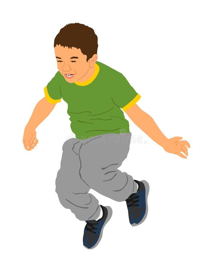 Ni?o alegre feliz, ni?o peque?o que hace el ejemplo del vector de los ejercicios aislado en el fondo blanco El muchacho que salta libre illustration