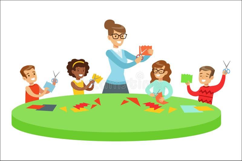 Ni?os en Art Class Two Cartoon Illustrations con los ni?os de la escuela primaria y su Techer que hace a mano y que dibuja adentr libre illustration