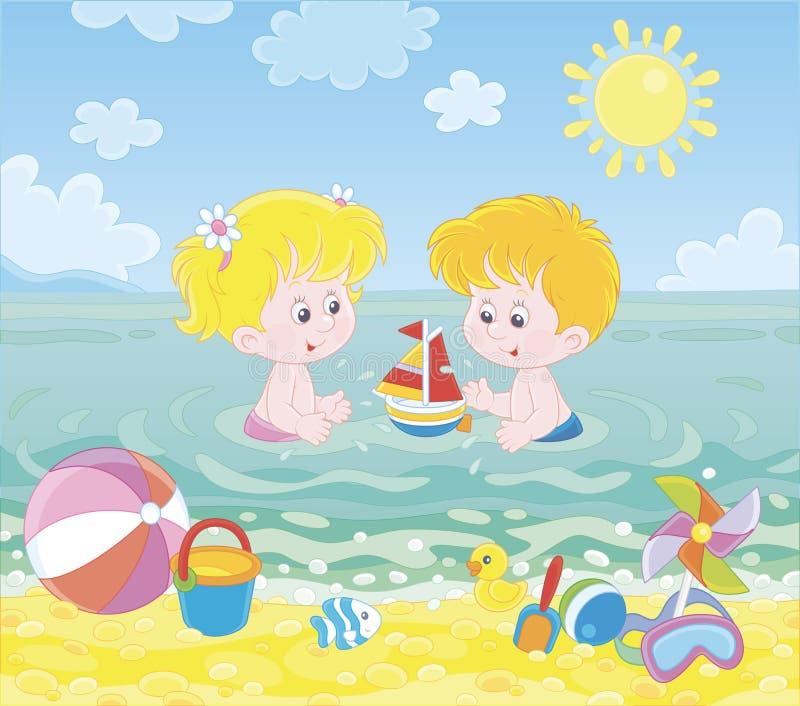 Ni?os que juegan en agua en una playa del mar stock de ilustración