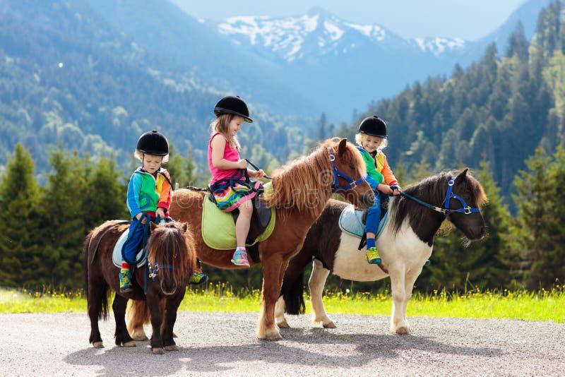 Ni?os que montan el potro Ni?o en caballo en monta?as de las monta?as imagen de archivo libre de regalías