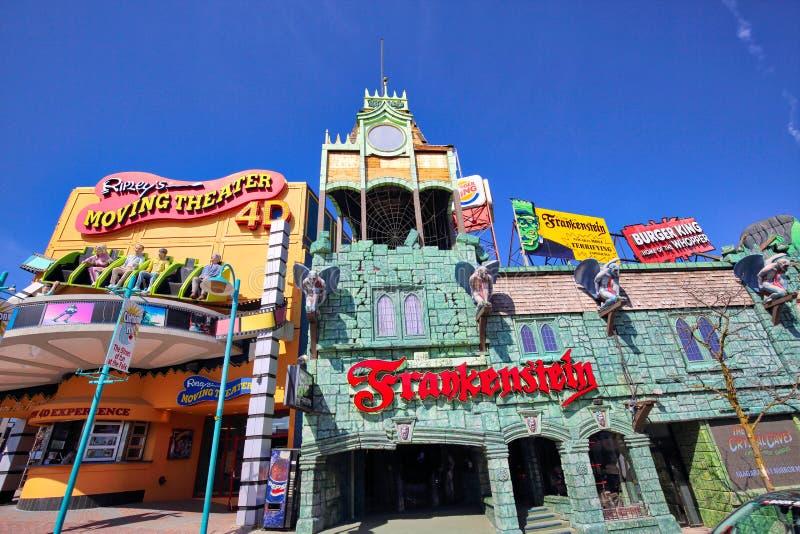 Niagara city entertainment zone near Niagara waterfalls. At a sunny dday stock image