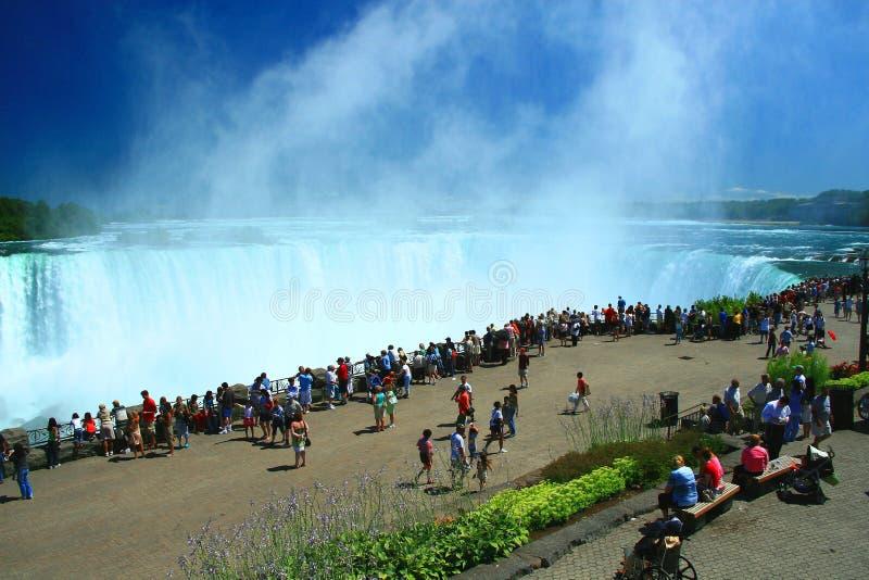 Niagara Falls. Mist rises dramatically from Niagara's Canadian Horseshoe Falls stock images