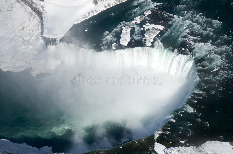 Niagara Falls. An aerial shot of the Canadian section of Niagara Falls, also known as Horseshoe Falls, with snow still present in early spring royalty free stock photography