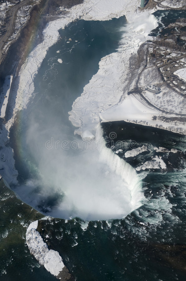 Niagara Falls. An aerial shot of the Canadian and American sections of Niagara Falls, with snow still present in early spring. The rainbow on the left of the stock image