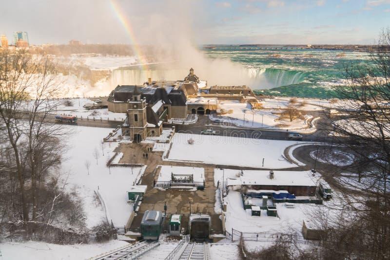 Niagara Falls from above with rainbow royalty free stock photo