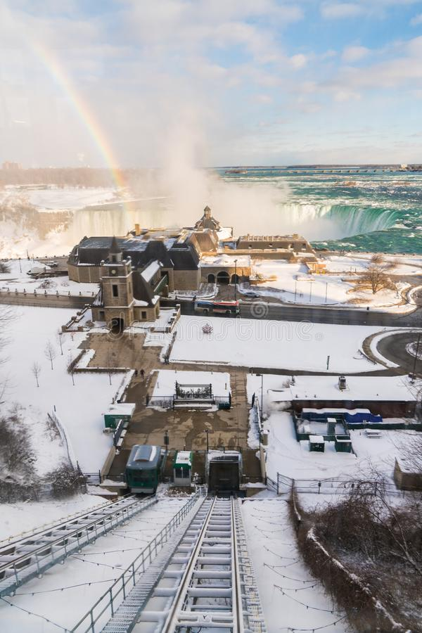 Niagara Falls in Winter with rainbow royalty free stock image
