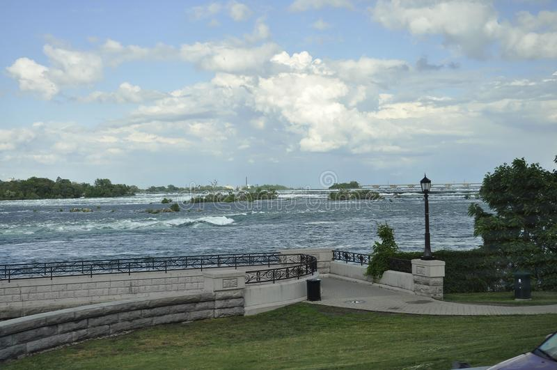 Niagara Falls aerial Horseshoe landscape from Canadian side stock image