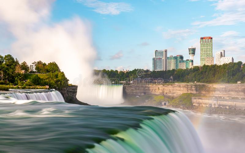 Niagara Falls on America side in the morning with clear sky , Buffalo , United States of America royalty free stock image