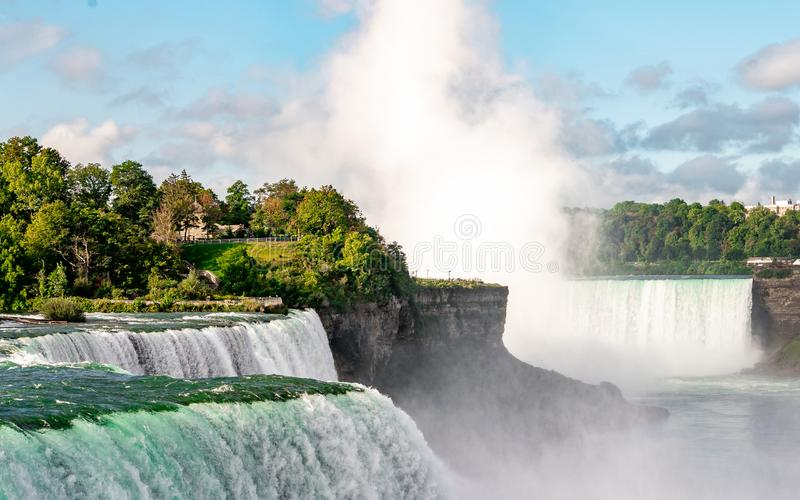 Niagara Falls on America side in the morning with clear sky , Buffalo , United States of America. Niagara Falls from America side in the morning with clear sky royalty free stock image