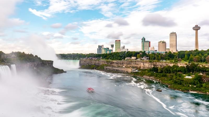Niagara Falls on America side in the morning with clear sky , Buffalo , United States of America. September 6 , 2018 royalty free stock photo