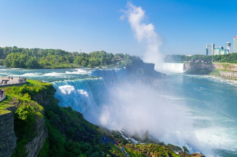 Niagara Falls from the American side in summer. stock photo