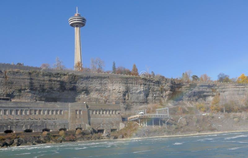 NIAGARA FALLS, CANADÁ - 13 de noviembre de 2016: La torre de Skylon es fotografía de archivo libre de regalías