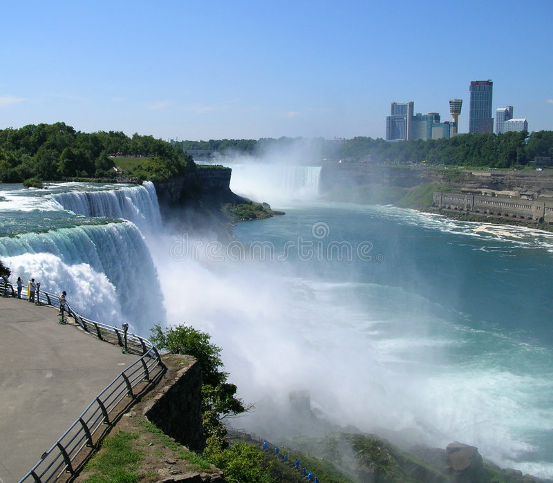 Download Niagara Falls With Canada In Background Stock Image - Image: 4530401