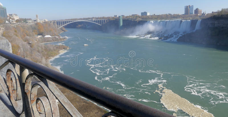 NIAGARA FALLS, CANADA - NOVEMBER 13th 2016: Rainbow bridge connecting USA and Canada stock images