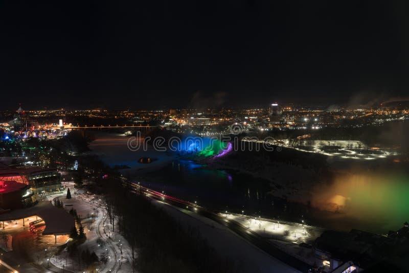 Niagara Falls at night from above stock images