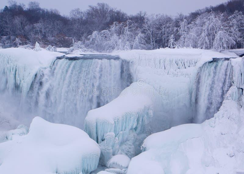 Niagara Falls in de winter stock foto's
