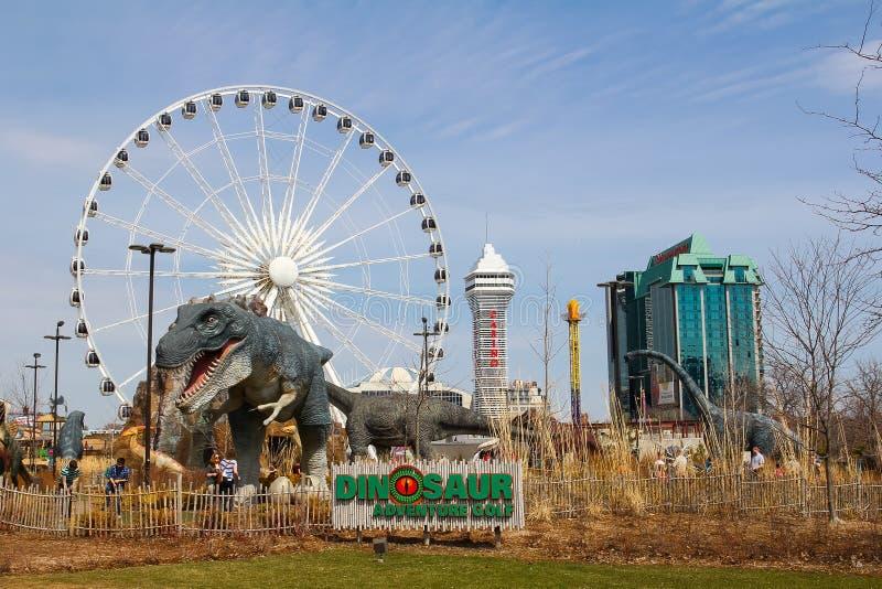 Niagara Falls Dinosaur Adventure Golf, Casino and Hotels stock photos