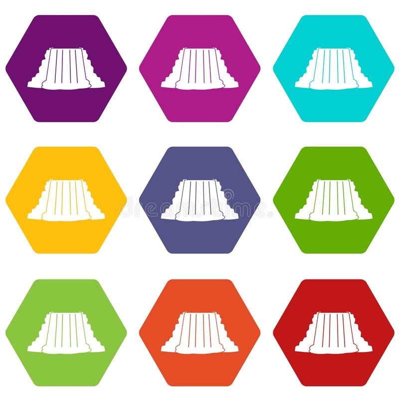 Niagara Falls icon set color hexahedron stock illustration