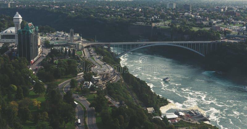 Niagara Falls Kanada regnbågebro arkivfoto
