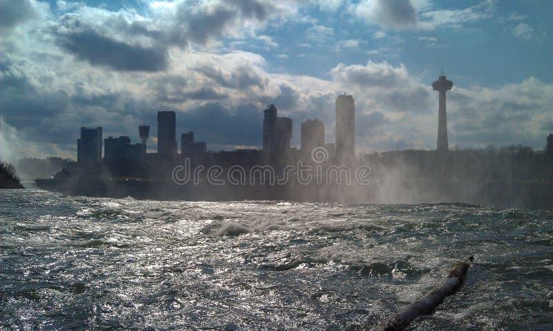 Niagara Falls New York riverside skyline royalty free stock photo
