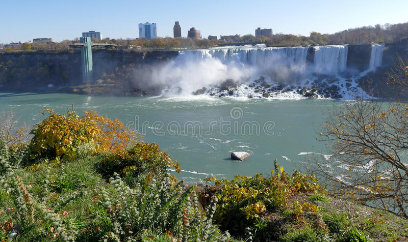Niagara Falls Observation Tower. View from Canada royalty free stock image