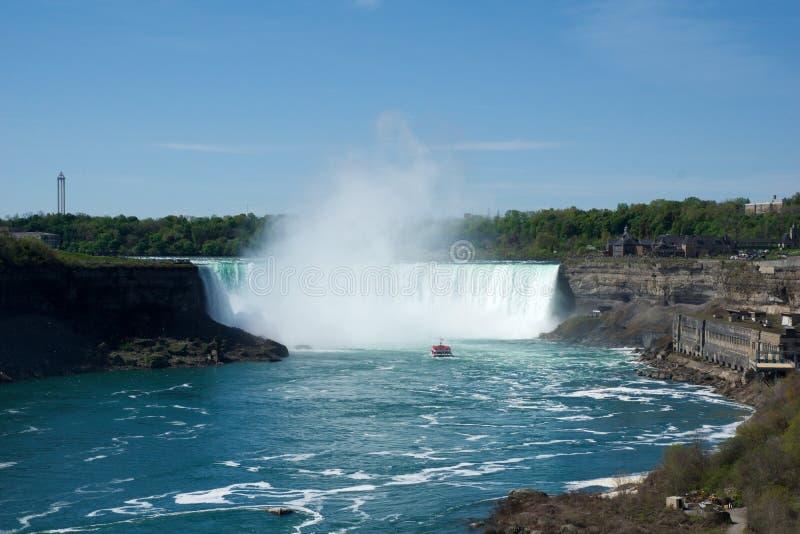 NIAGARA FALLS, ONTÁRIO, CANADÁ - 21 de maio de 2018: A ferradura cai em Niagara Falls viu do lado canadense fotografia de stock