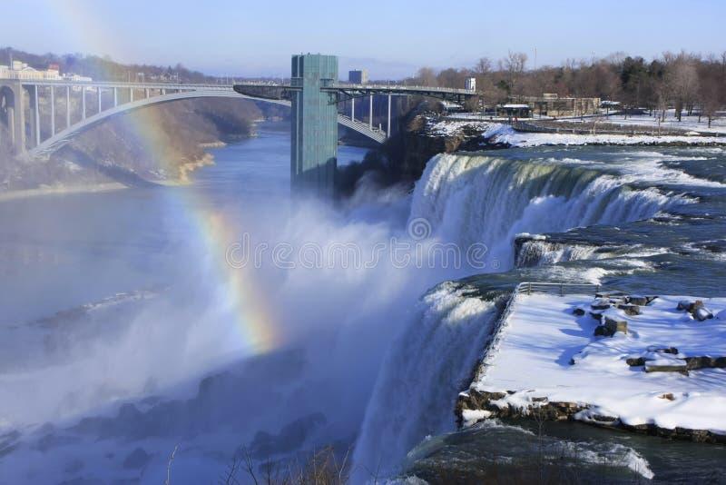 Niagara Falls and Rainbow Bridge in winter, New York, USA stock image