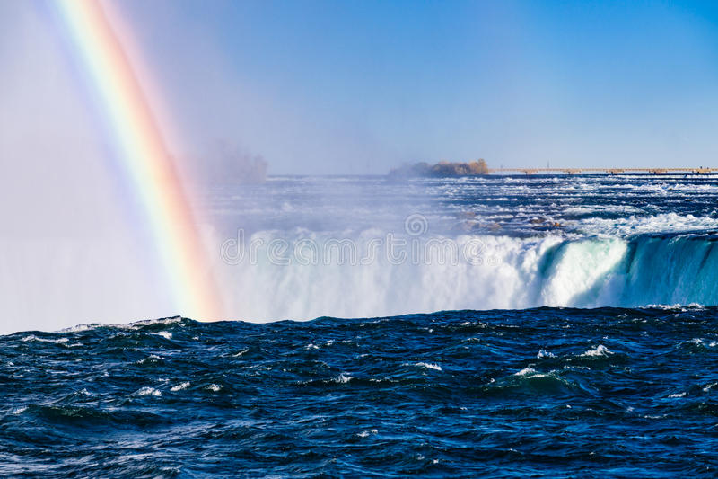 Niagara Falls with Rainbow stock photography
