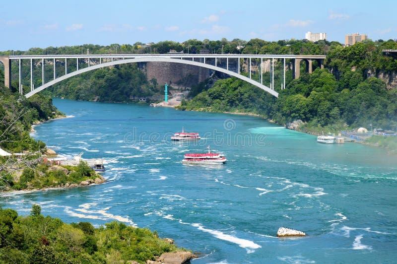 Niagara Falls regnbågebro fotografering för bildbyråer