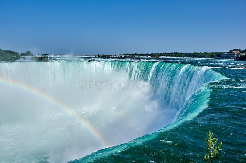 Niagara Falls on summer day. Beautiful Niagara Falls in summer on a clear sunny day with rainbow, view from Canadian side. Niagara Falls, Ontario, Canada royalty free stock image