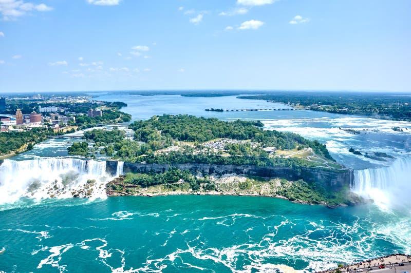 Niagara Falls on summer day. Beautiful Niagara Falls in summer on a clear sunny day, view from Canadian side. Niagara Falls, Ontario, Canada royalty free stock photos