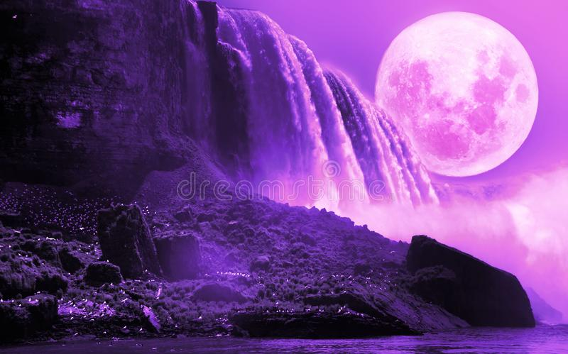 Niagara Falls Under Violet Moon. Close view to the Niagara falls with a violet full moon over it, creating an ultraviolet atmosphere