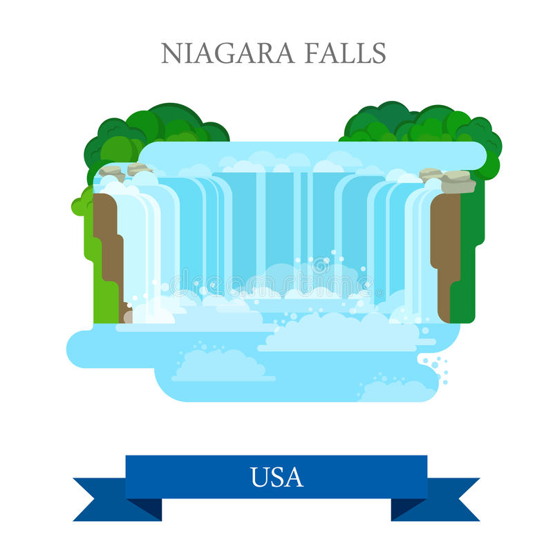 Niagara Falls in United States / Canada. Flat cart stock illustration