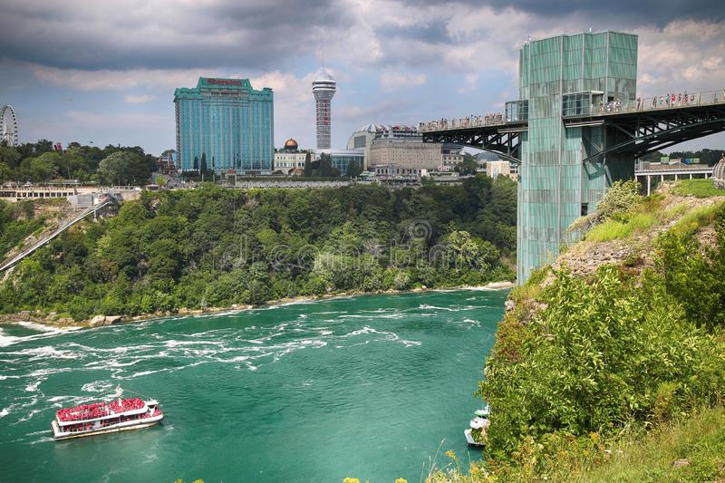 Niagara Falls, USA – August 29, 2018: Beautiful view of Rainbow Bridge from American side and the Canadian side with famous hot royalty free stock photography