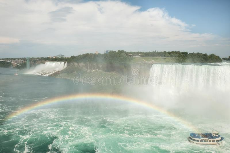 Niagara falls viewed from the canadian side with rainbow royalty free stock photos
