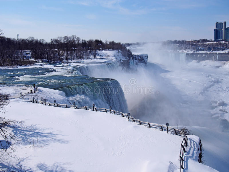 Niagara falls in winter. With the river mostly frozen stock image