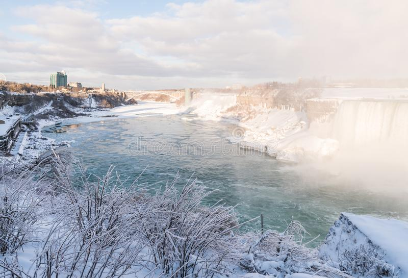 Niagara Falls in Winter with snow and ice stock photos