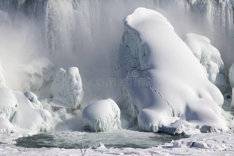 Niagara no inverno Dia ensolarado de congelação fotos de stock royalty free