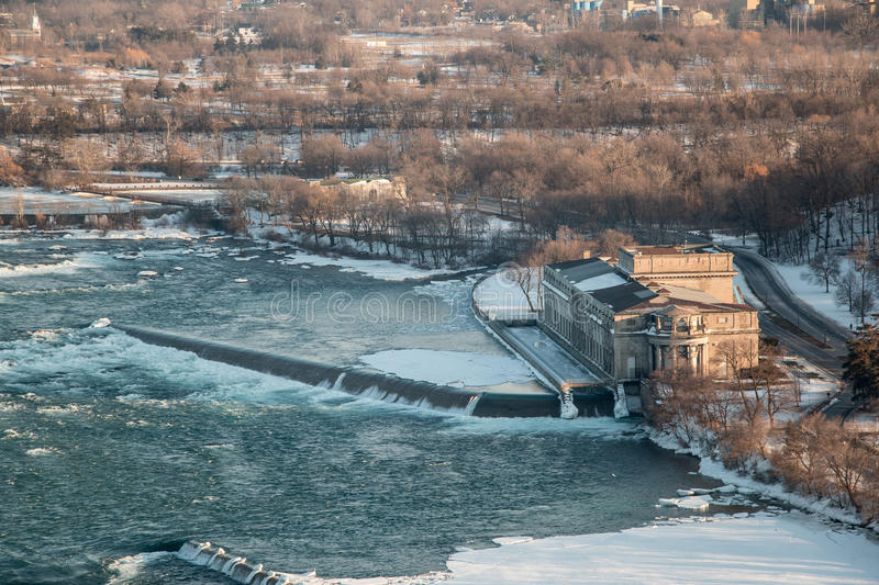 Niagara Rankine Power Generating Station. Aerial shot of the former Rankine Power Generating Station and surrounding area, located just up river from Niagara royalty free stock photography