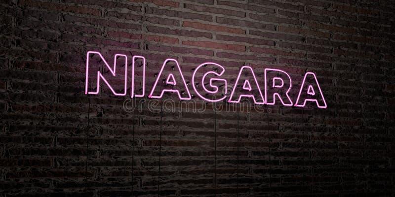 NIAGARA - realistiskt neontecken på bakgrund för tegelstenvägg - 3D framförd fri materielbild för royalty stock illustrationer