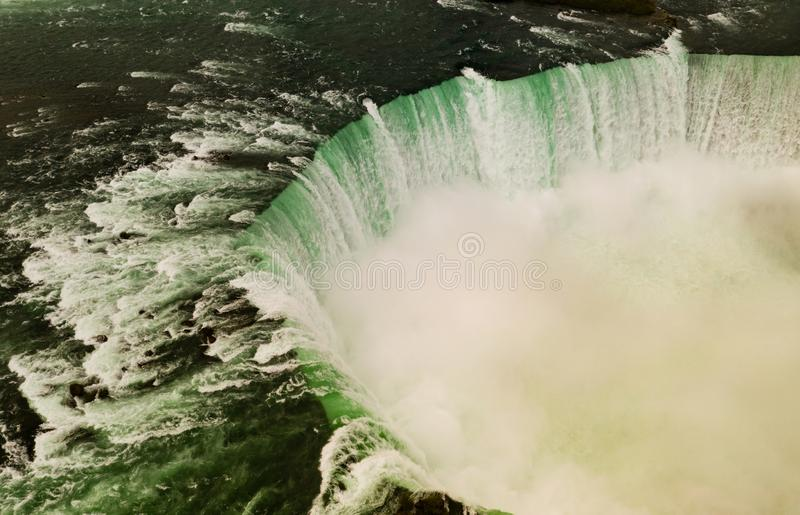 The Niagara River Cuts through the United States and Canada. Niagara Falls Canada can be seen here from an aerial perspective from the United States stock photography