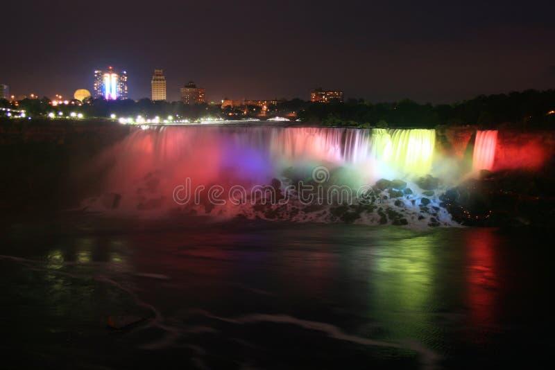 Niagara's American Falls at Night-time. The majestic American Falls of Niagara illuminated at night royalty free stock image