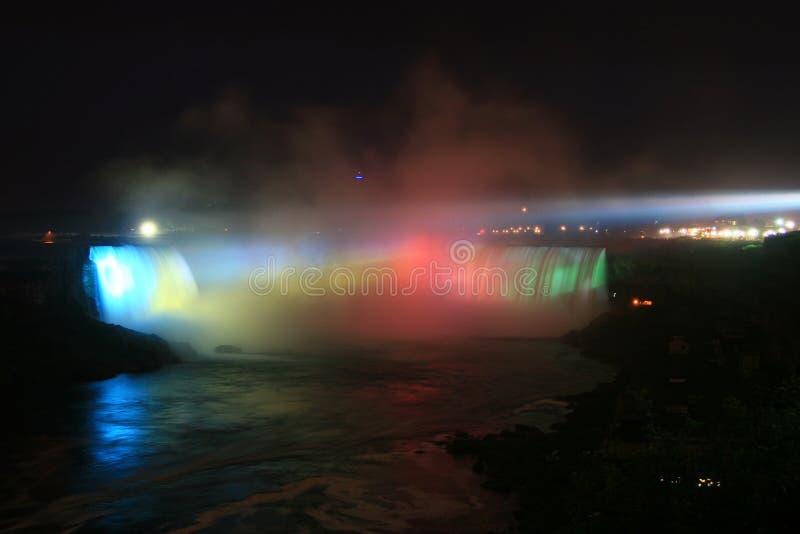 Niagara's Horseshoe Falls Falls at Night. The majestic Horseshoe Falls of Niagara illuminated at night stock photography