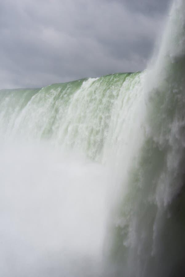 Niagara Spada na chmurnym chmurzącym dniu z perfect chmurami Widok od kanadyjczyk strony Widok Spod spodu zdjęcia royalty free