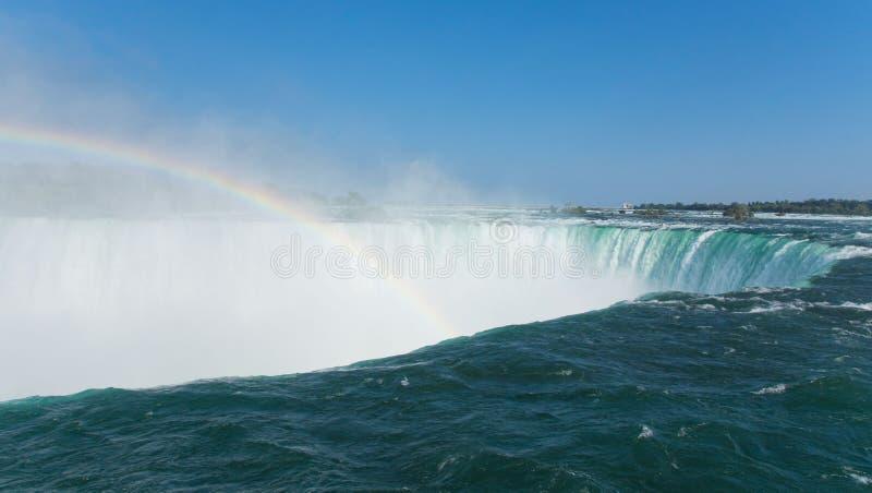 Niagara spadków podkowy zakończenie z tęczą z góry, Kanada, lato obraz royalty free