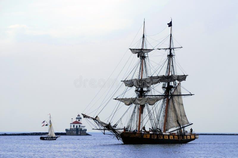 Niagara Tallship Sails up, lighthouse stock photos