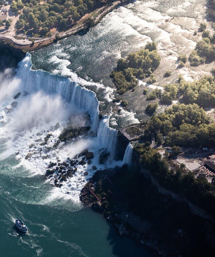 Niagara waterval van bovenaf, Â Aerial view of Niagara waterval royalty-vrije stock fotografie