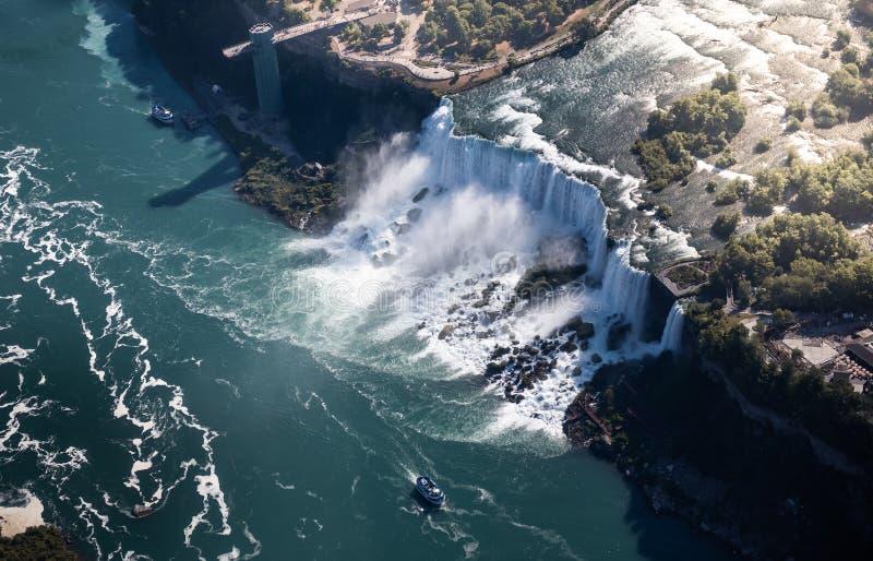 Niagara waterval van bovenaf, luchtaanzicht van Niagara waterval stock afbeeldingen