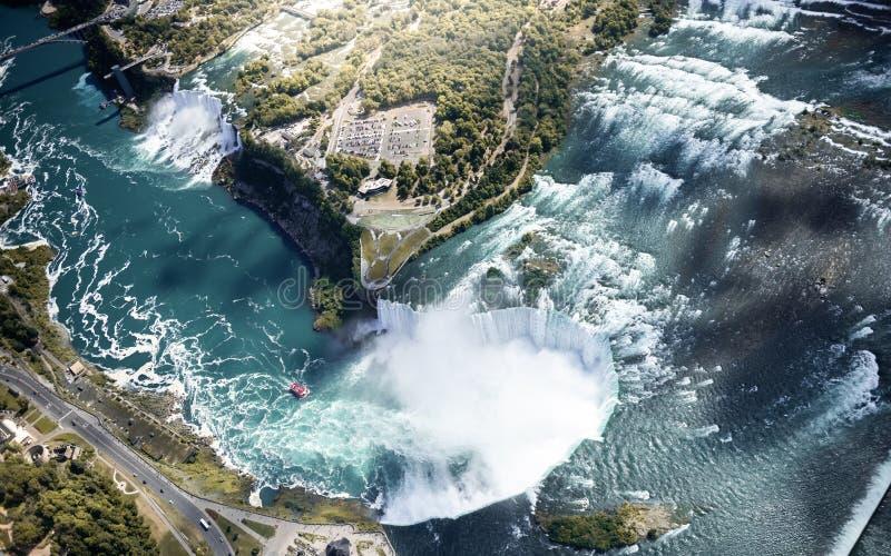 Niagara waterval van bovenaf, luchtaanzicht van Niagara waterval royalty-vrije stock foto
